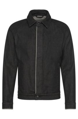 Veste en jeans Slim Fit en coton stretch à patte de boutonnage invisible : « Chicago », Noir