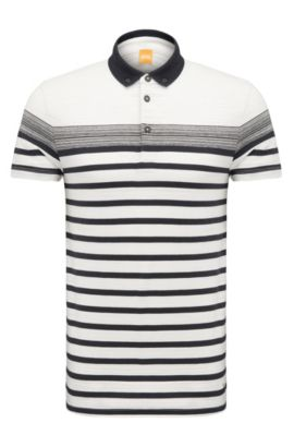 Striped regular-fit polo shirt in cotton: 'Promo', Natural