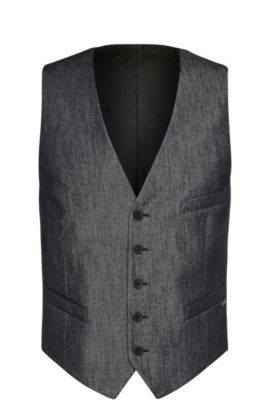 Slim-fit waistcoat in stretchy cotton blend: 'Bacer2', Dark Blue