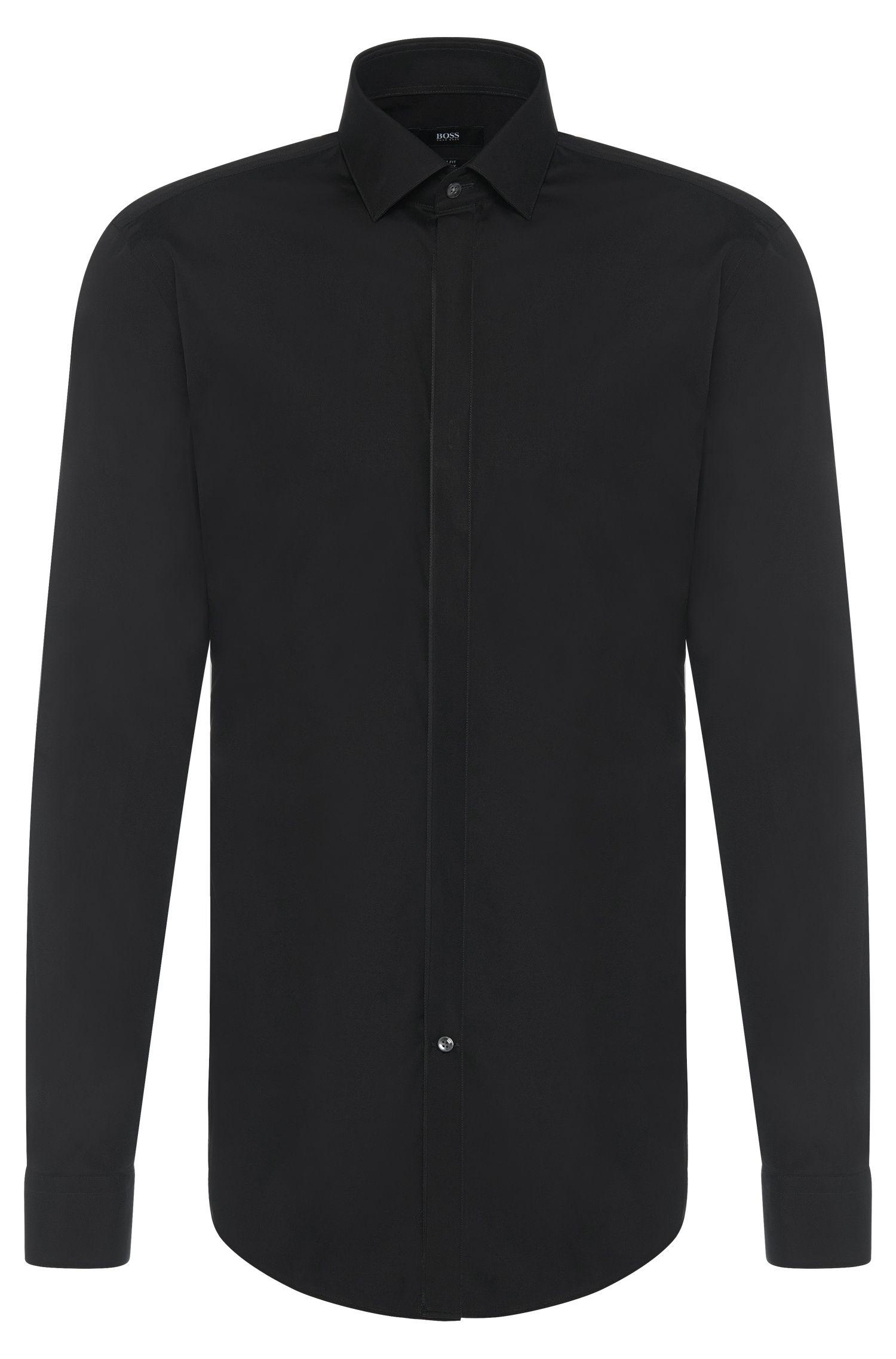 Chemise Slim Fit en coton à patte de boutonnage invisible: «Jamis»