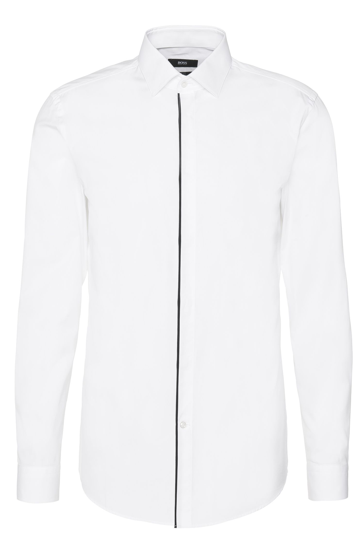 Slim-fit overhemd van katoen met een verdekte knoopsluiting: 'Jamis'