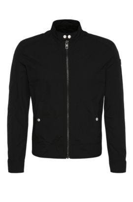 Slim-fit jas van een materiaalmix in bikerstijl: 'Onate', Zwart