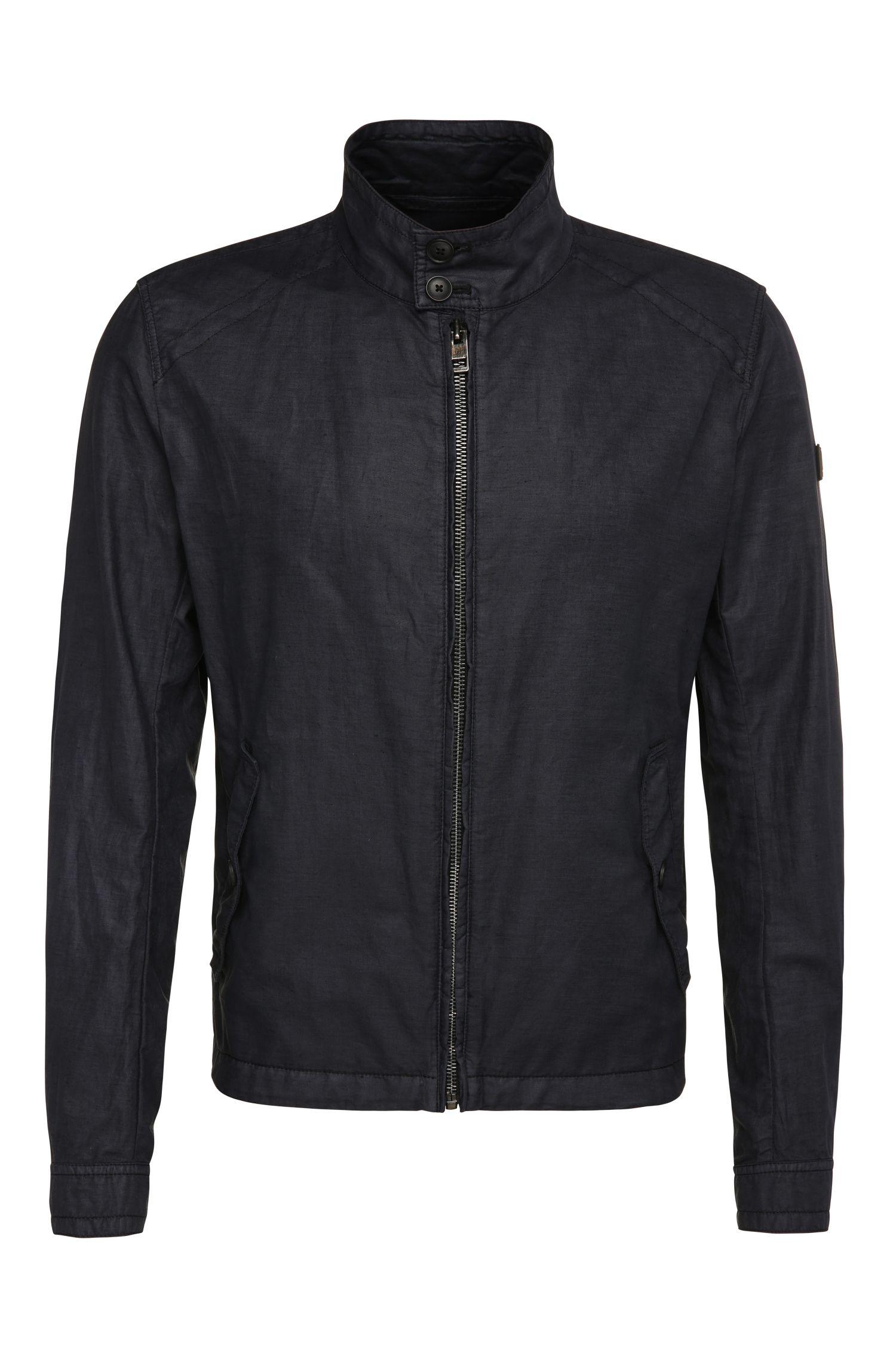 Relaxed-fit jas van linnen en katoen in Harrington-stijl: 'Oraca-D'