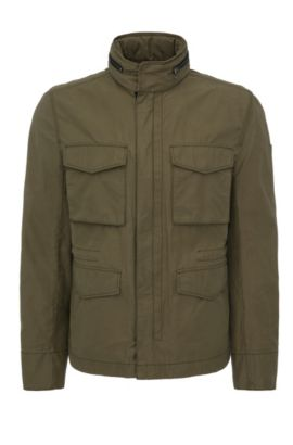 Regular-Fit Field-Jacket aus Baumwoll-Mix: ´Odean-W`, Dunkelgrün