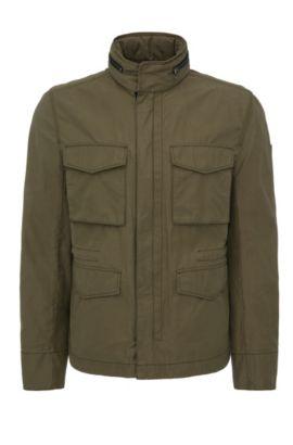 Cazadora de estilo militar regular fit en mezcla de algodón: 'Odean-W', Verde oscuro