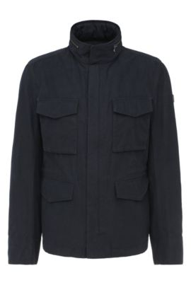Regular-fit field jacket in cotton blend: 'Odean-W', Dark Blue