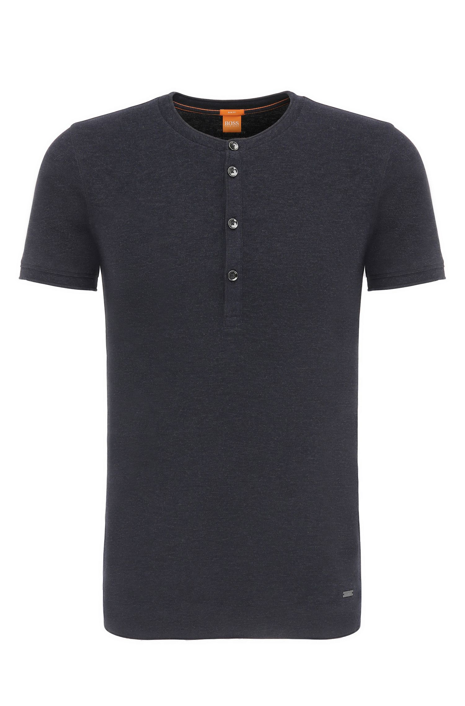 Slim-fit Henley shirt in cotton: 'Topside'