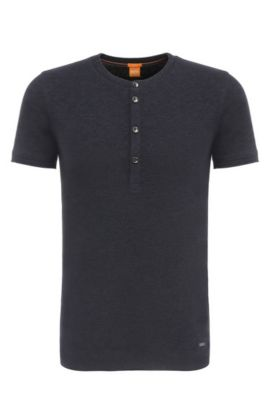 Slim-fit Henley shirt in cotton: 'Topside', Dark Blue