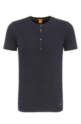 Camiseta Henley slim fit en algodón: 'Topside', Azul oscuro