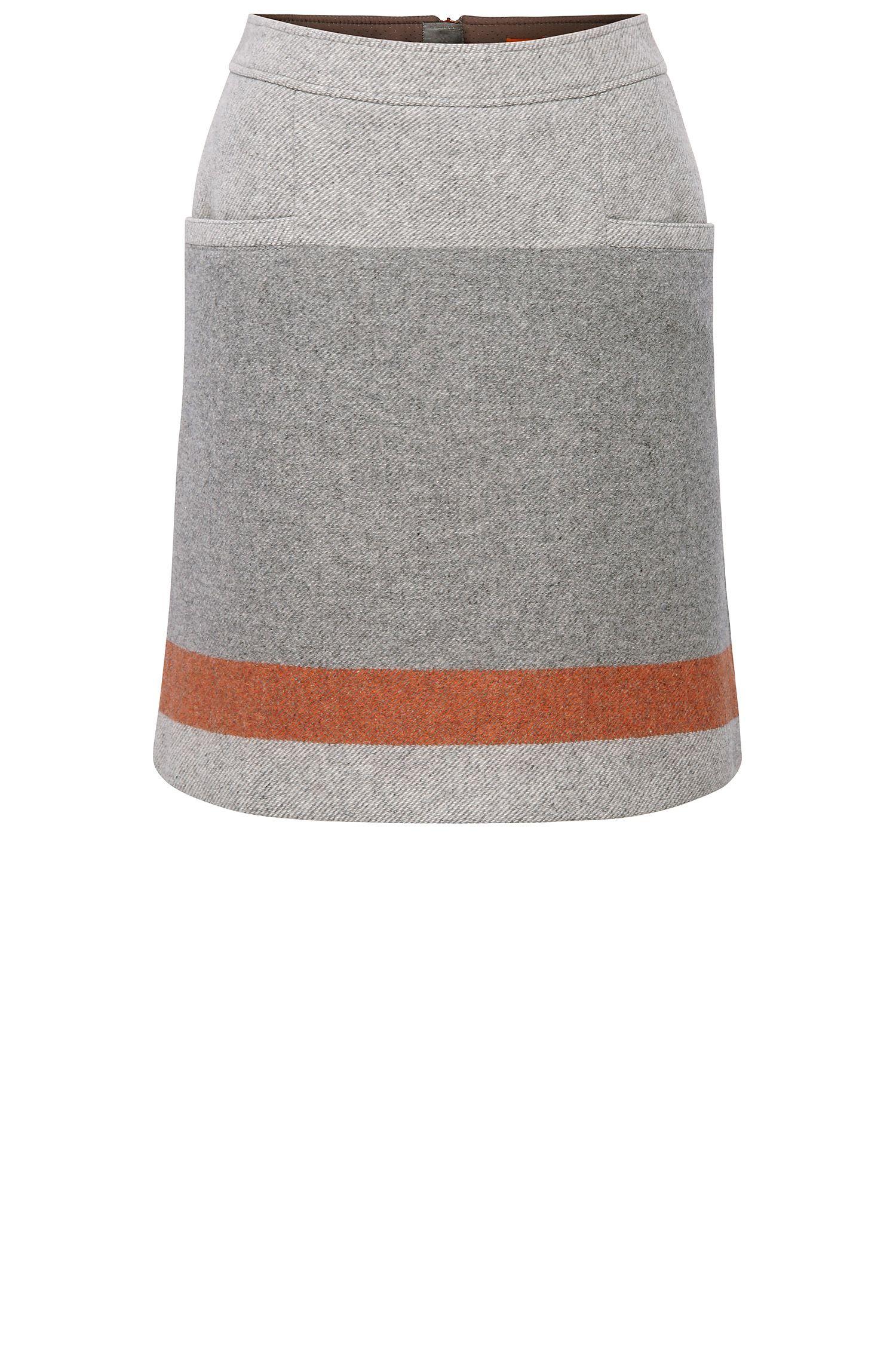 Falda de cintura alta regular fit en mezcla de lana: 'Bastra'
