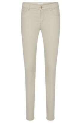 Jeans Slim Fit en coton mélangé extensible: «Nafice Cuff», Beige clair