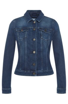 Straight-cut jeans jacket in stretch cotton: 'Norie', Blue