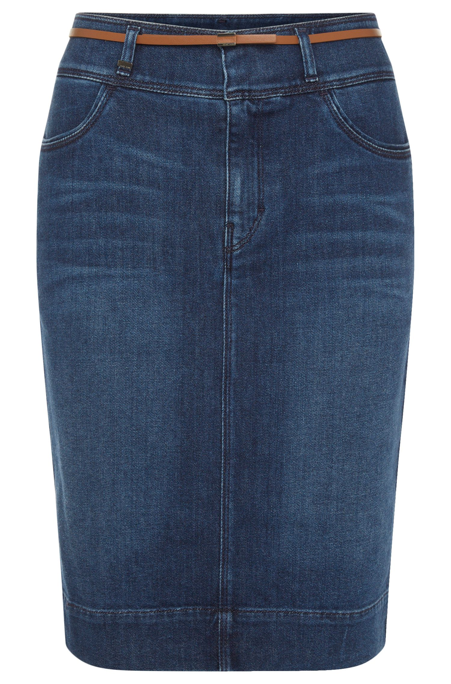 Jeans skirt in stretch cotton with belt: 'Nelana'
