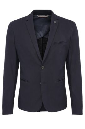 Slim-fit tailored jacket in stretch cotton: 'Benestretch7', Dark Blue