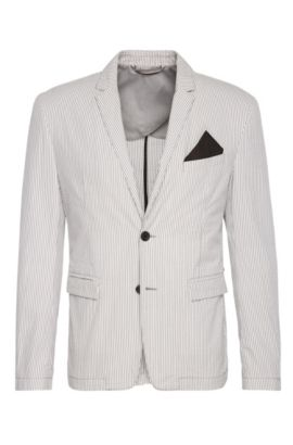 Giacca slim fit a righe in cotone: 'Bans_BS-W', Bianco