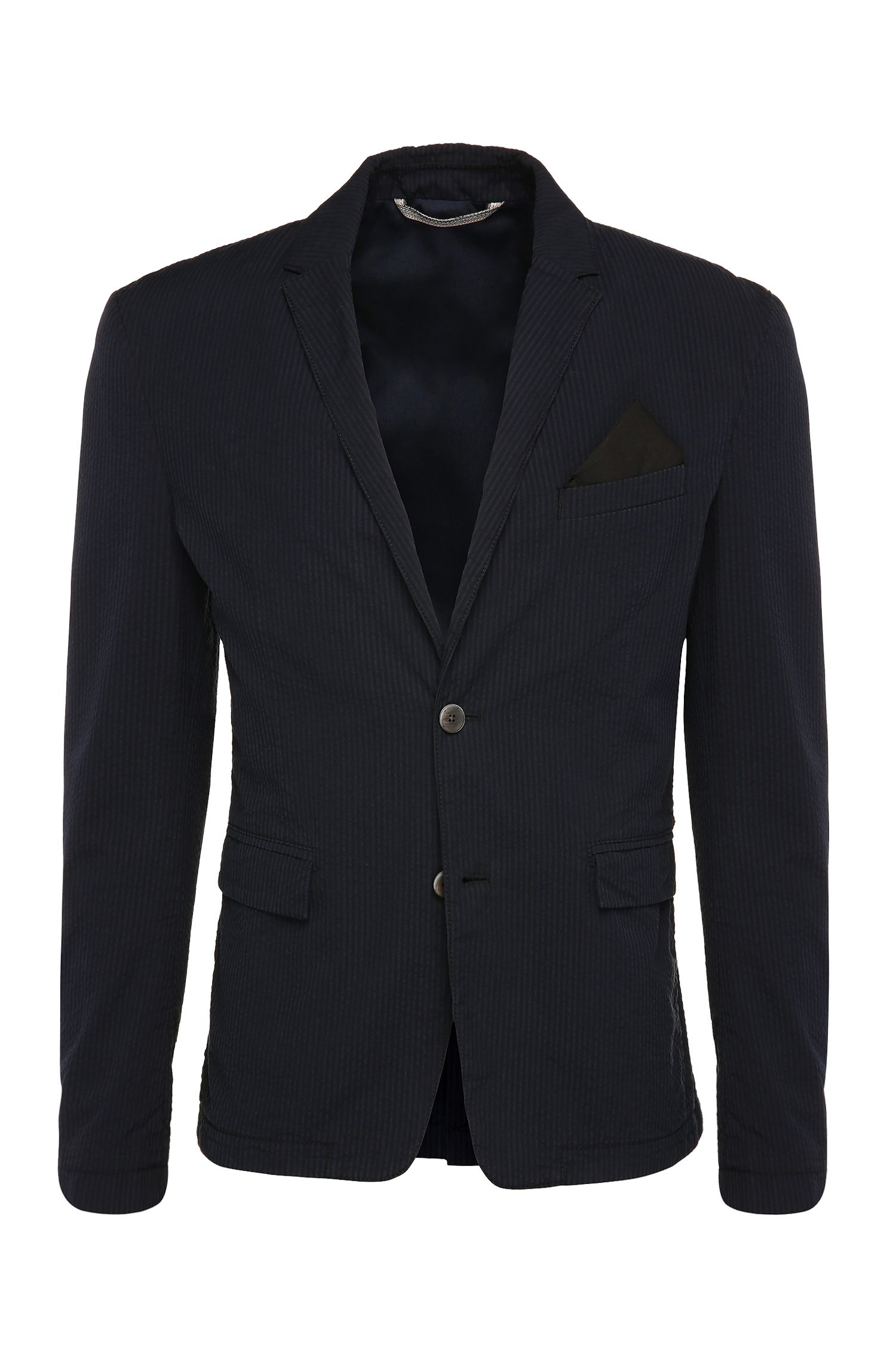 Giacca slim fit a righe in cotone: 'Bans_BS-W'