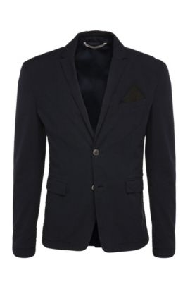 Striped slim-fit jacket in cotton: 'Bans_BS-W', Dark Blue