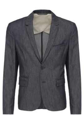 Slim-fit blazer in material blend with pocket square: 'Bait', Dark Blue