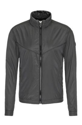 Lichte outdoorjas van een materiaalmix met ruitdessin: 'Ombay', Zwart