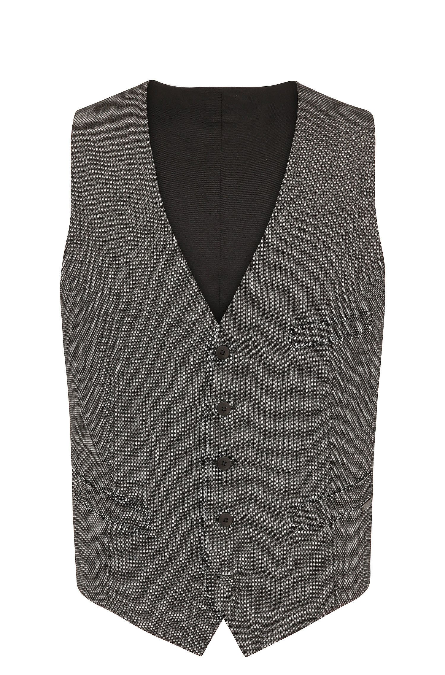 Slim-fit waistcoat in a textured material blend with linen and viscose: 'Bacer3_BS'