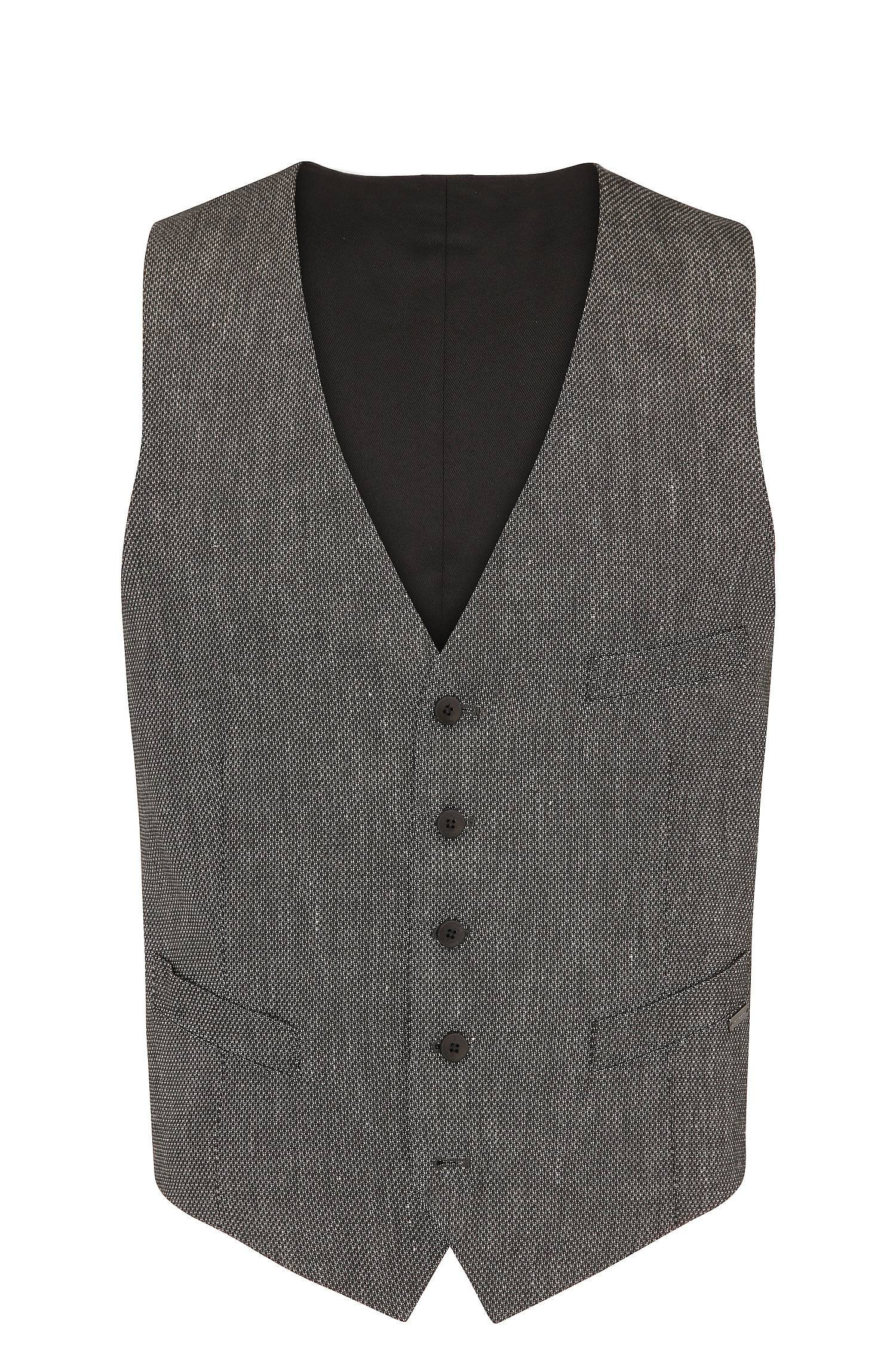 Slimfit waistcoat in a textured material blend with linen and viscose `Bacer3_BS`