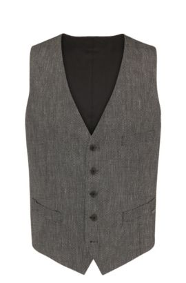 Slim-fit waistcoat in a textured material blend with linen and viscose: 'Bacer3_BS', Black