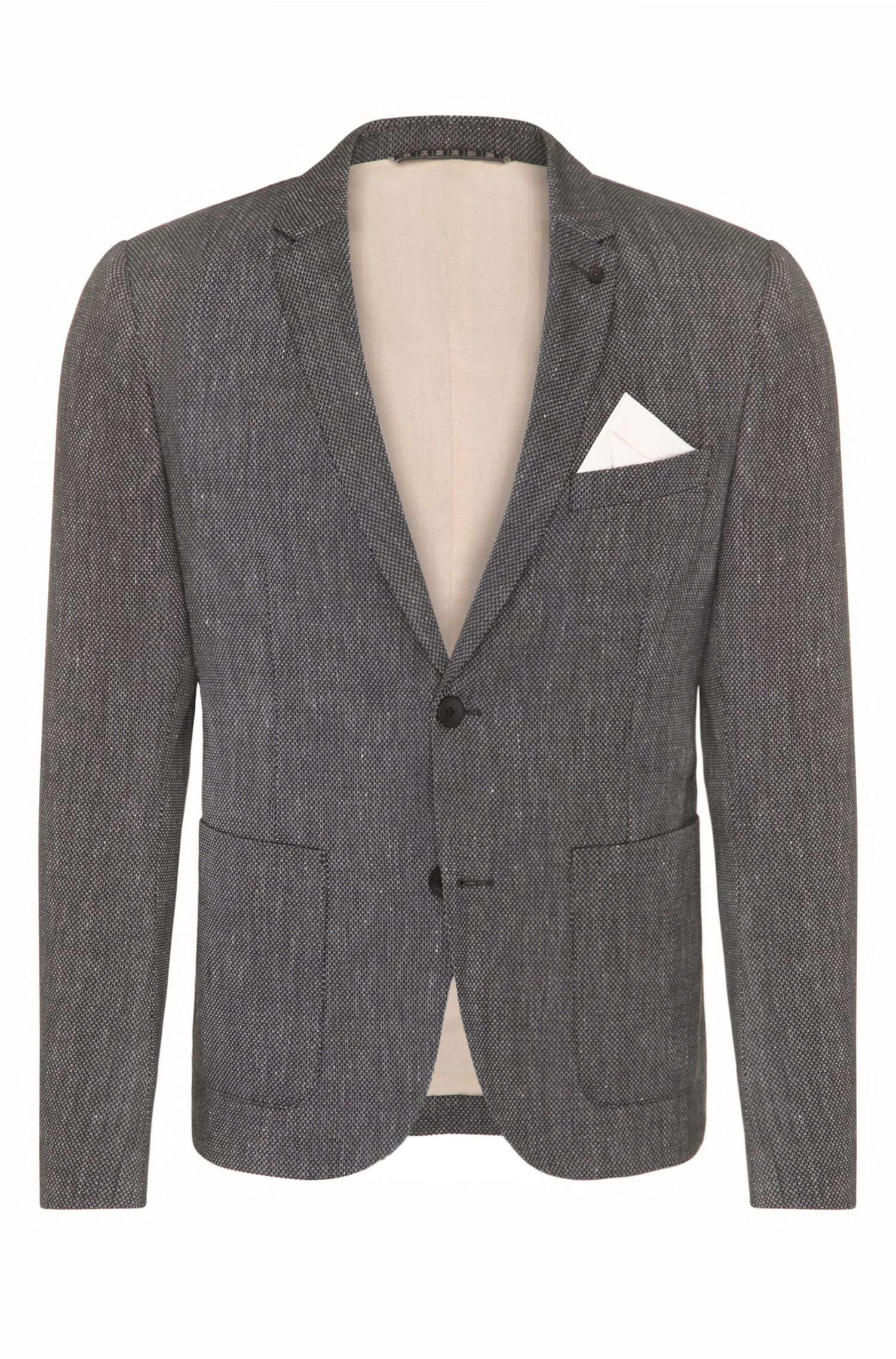 Slim-fit blazer in a material blend with linen and viscose: 'Bask_BS'