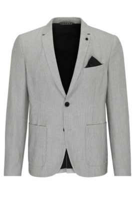 Slim-fit blazer in a material blend with linen and viscose: 'Bask_BS', Beige