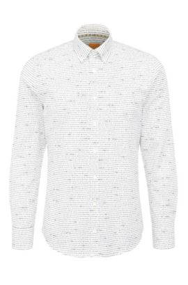 Camicia slim fit in cotone con stampa all-over: 'Epreppy', Bianco