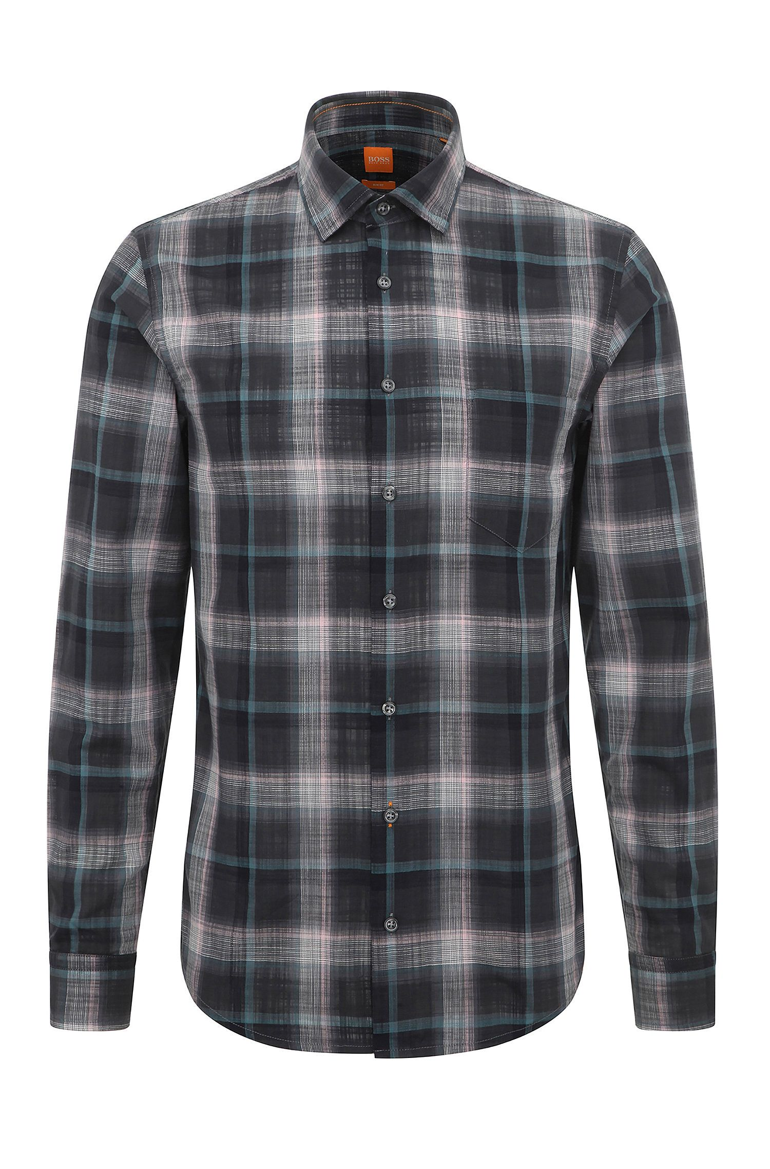 Checked slim-fit shirt in cotton: 'Epop'