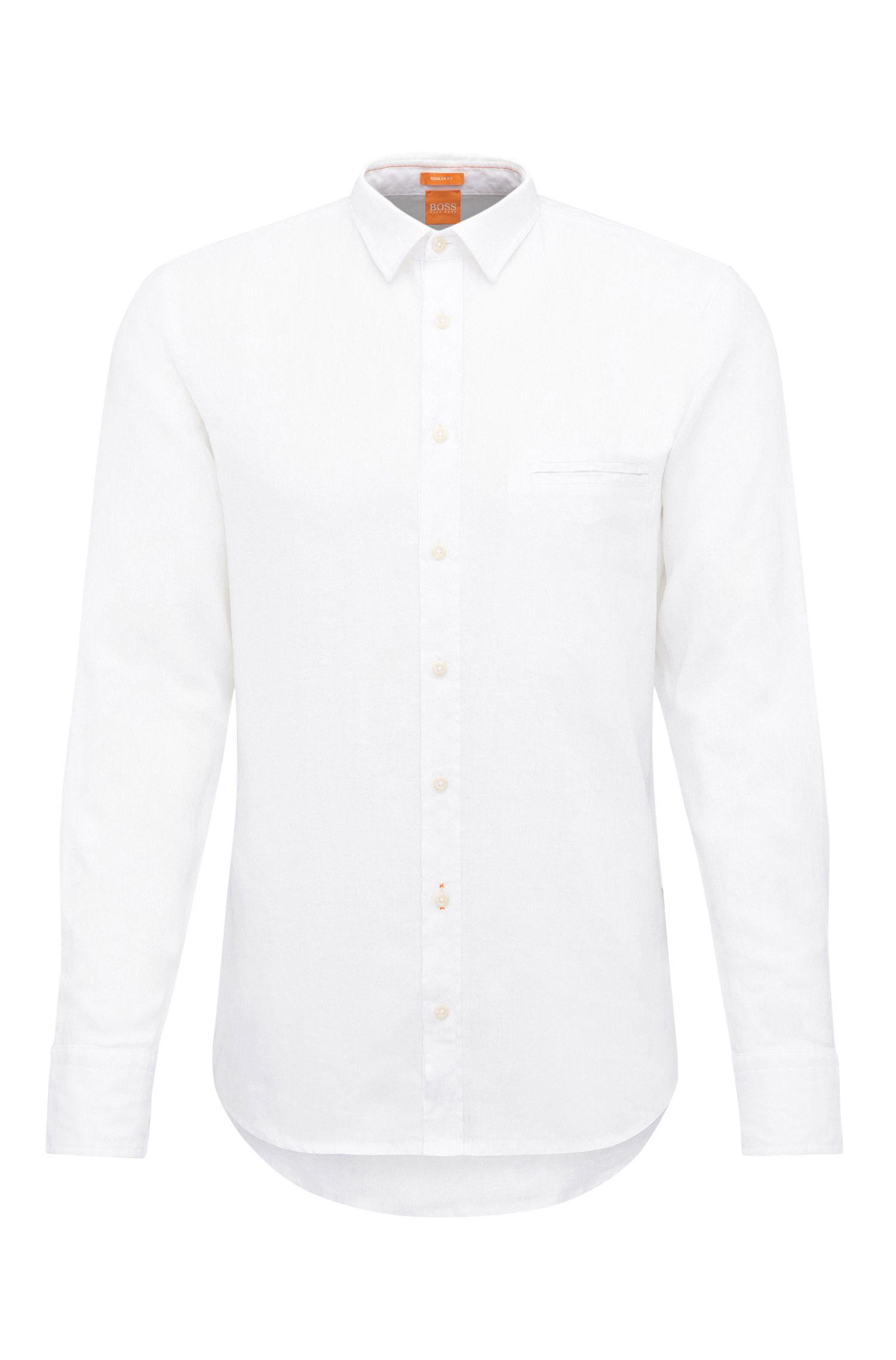 Camicia regular fit in lino testurizzato: 'Elvedge'