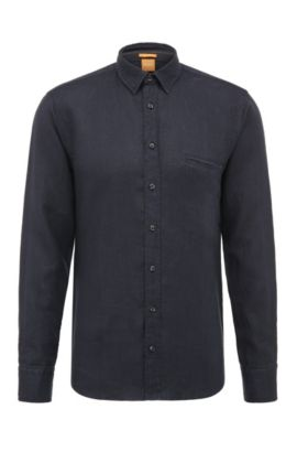 Regular-fit shirt in textured linen: 'Elvedge', Dark Blue