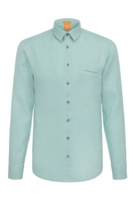Camicia regular fit in lino testurizzato: 'Elvedge', Turchese