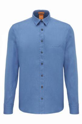Regular-fit overhemd van gestructureerd linnen: 'Elvedge', Lichtblauw