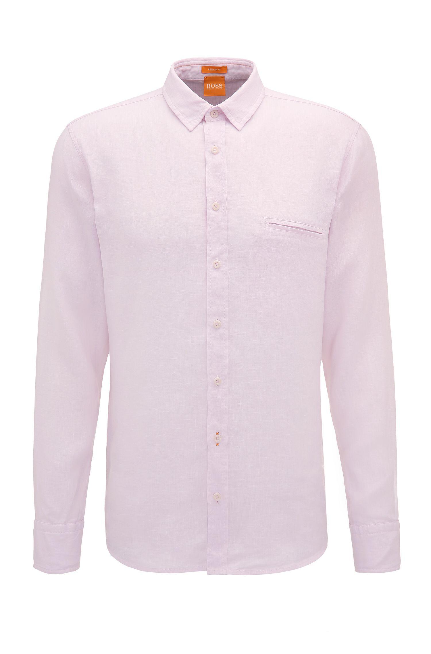 Regular-fit overhemd van gestructureerd linnen: 'Elvedge'