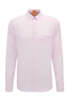 Regular-fit overhemd van gestructureerd linnen: 'Elvedge', Lichtroze