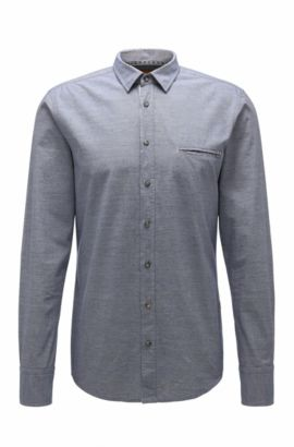 Camisa casual regular fit en algodón: 'Elvedge', Azul oscuro