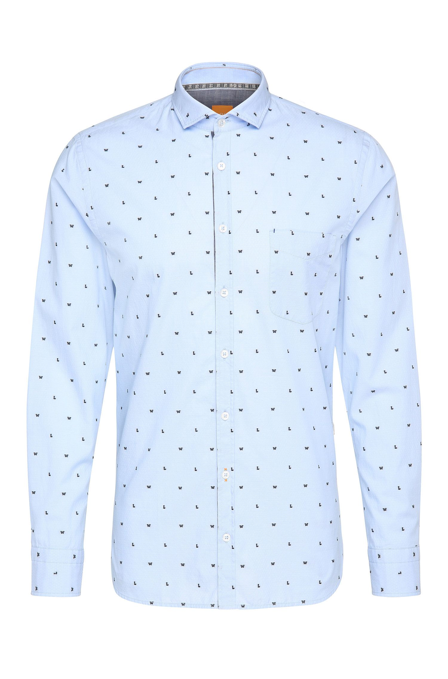 Patterned slim-fit shirt in cotton Jacquard: 'Cattitude'