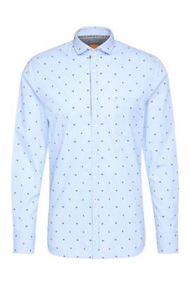 Camisa slim fit estampada en algodón de jacquard: 'Cattitude', Azul oscuro