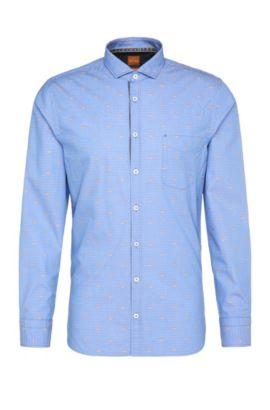 Camisa slim fit estampada en algodón de jacquard: 'Cattitude', Celeste