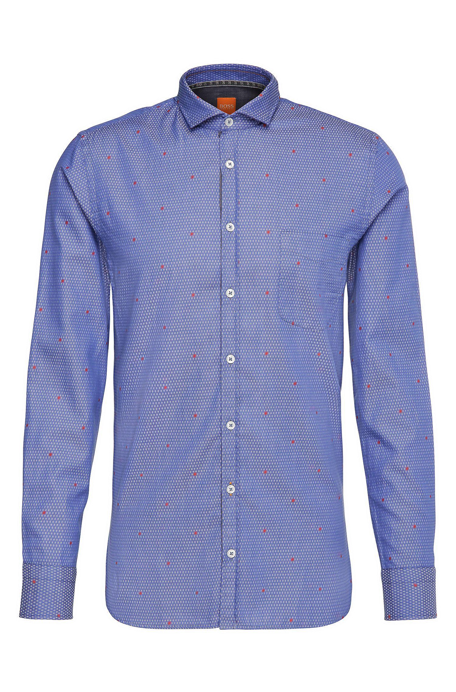 Camicia slim fit a disegni in cotone jacquard: 'Cattitude'