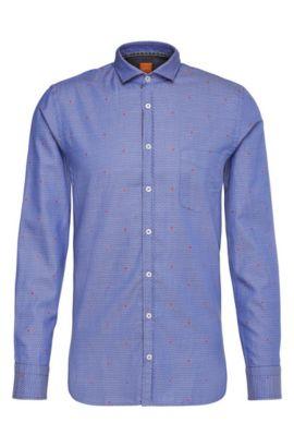 Camicia slim fit a disegni in cotone jacquard: 'Cattitude', Celeste