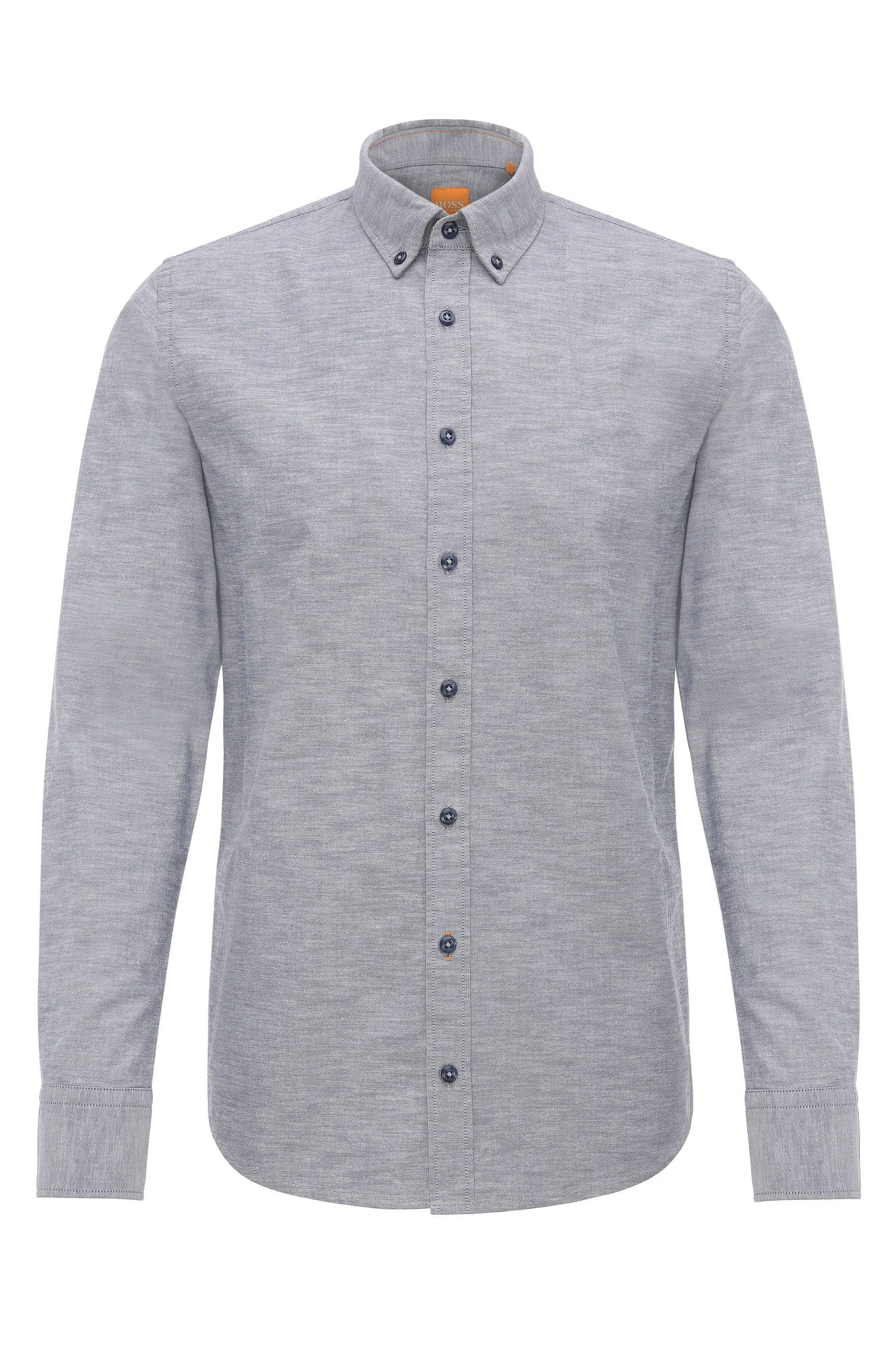 Mottled slim-fit shirt in cotton: 'Epreppy'