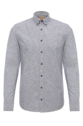 Camisa slim fit jaspeada en algodón: 'Epreppy', Azul oscuro