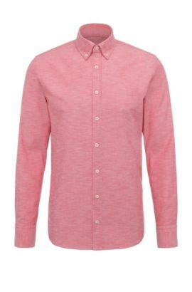 Camicia slim fit in cotone mélange: 'Epreppy', Rosso