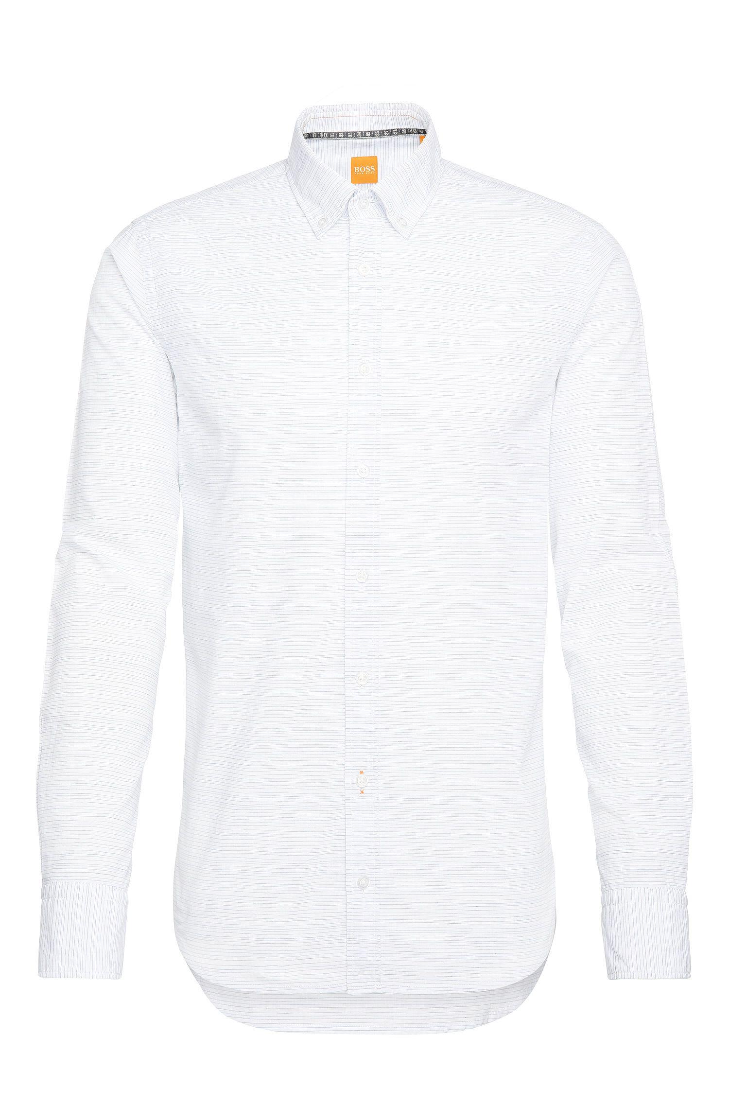 Camisa casual slim fit a rayas, confeccionada en mezcla de algodón con lino: 'Epreppy'