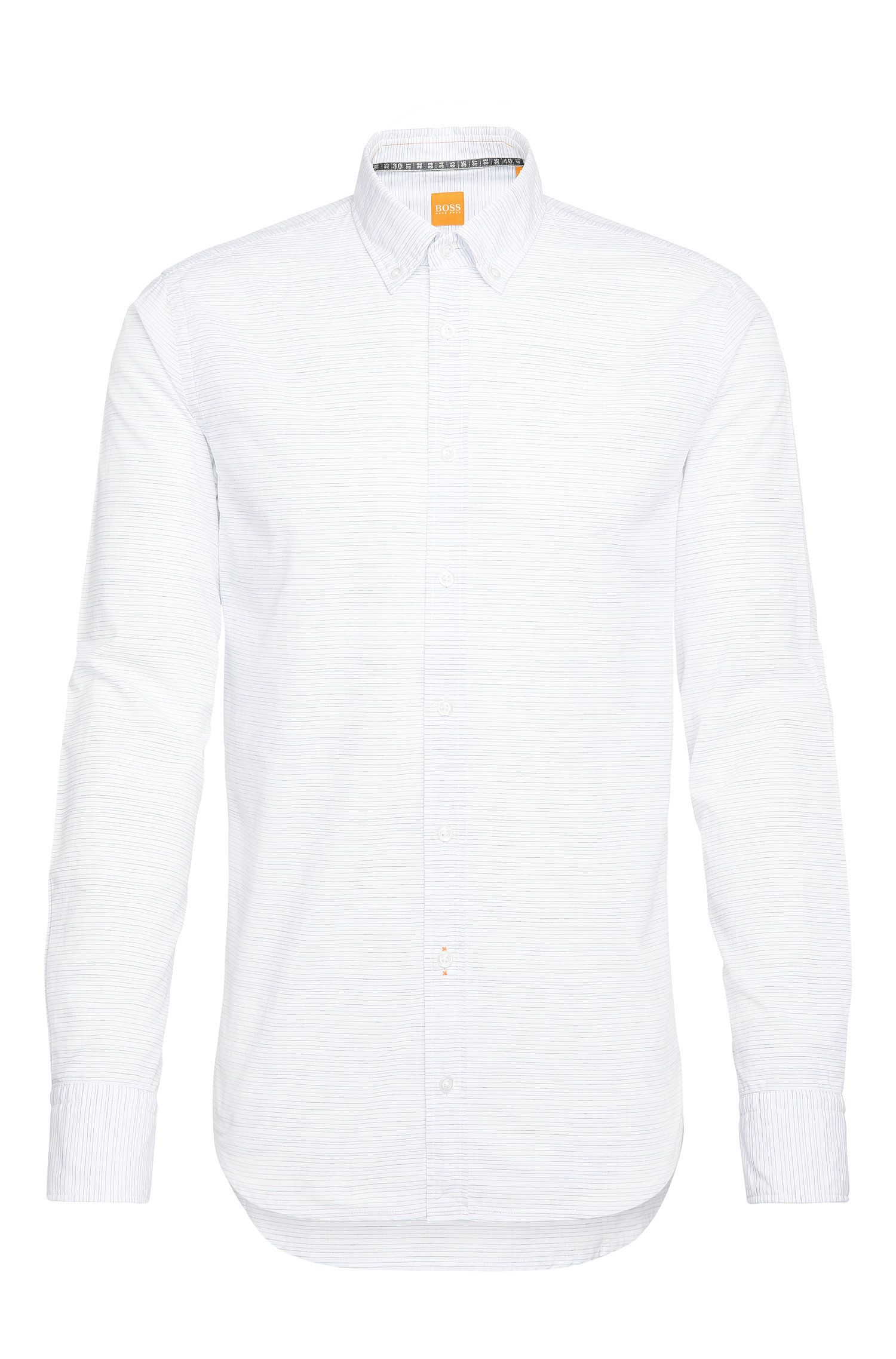 Gestreept, slim-fit vrijetijdsoverhemd van een katoenmix met linnen: 'Epreppy'