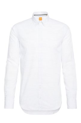 Camisa casual slim fit a rayas, confeccionada en mezcla de algodón con lino: 'Epreppy', Blanco