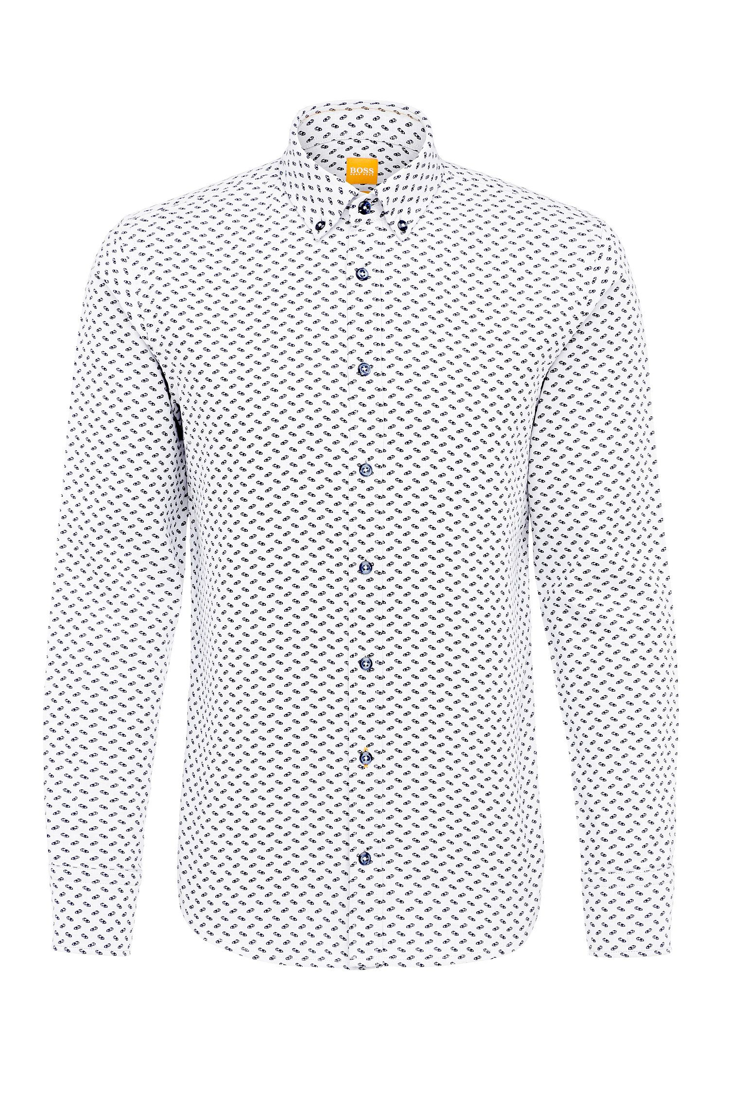 Patterned slim-fit shirt in cotton Jacquard: 'Epreppy'