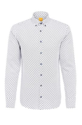 Patterned slim-fit shirt in cotton Jacquard: 'Epreppy', White